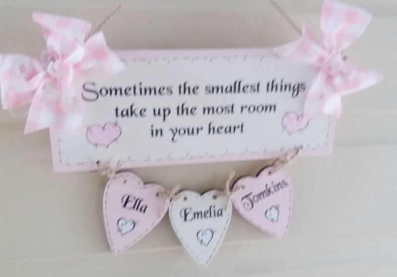 Personalised Wall Hanging In Fancy Font Add Your Own Text